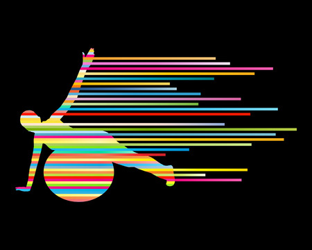 perfect female body: Young woman exercise fitness ball vector background sport concept made of stripes Illustration