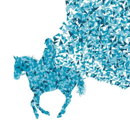silueta ciclista: Paseos a caballo ecuestre espectáculo deportivo con el caballo y el jinete de vectores de fondo concepto abstracto hecha de fragmentos
