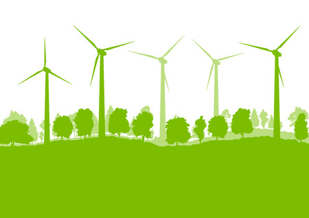 power in nature turbine: Wind generator turbine clean energy concept vector background concept