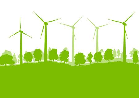 Windgenerator turbine schone energie begrip vector, achtergrond, concept Vector Illustratie