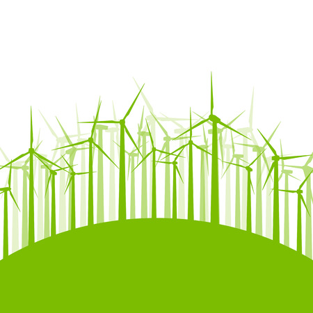 clean energy: Wind generator turbine clean energy concept vector background concept