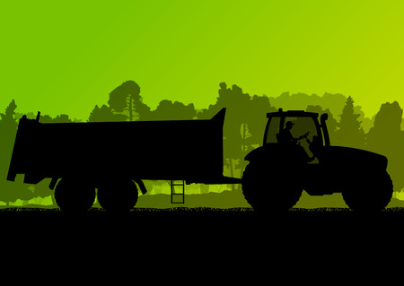 Agriculture tractor with corn trailer in cultivated country grain field landscape background illustration vector ecology concept