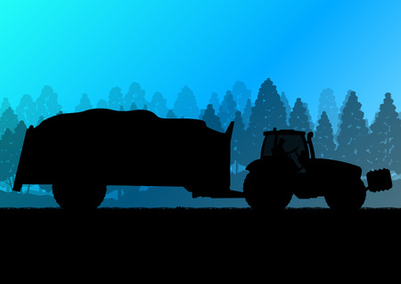 tillage: Agricultura tractor con remolque de maíz en el país cultivado campo de grano fondo del paisaje ilustración vectorial concepto de la ecología