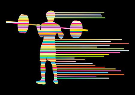 gym workout: Weight lifting man abstract vector background concept made of stripes