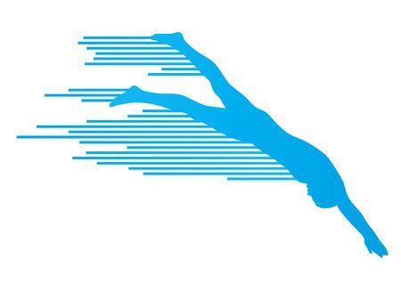 Atleta hombre nadador concepto saltando vector de fondo hecha de rayas Foto de archivo - 40571118