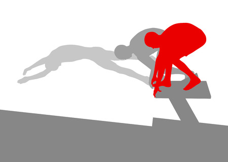 swimmer: Swimmer position for jump on starting block vector background concept made of stripes