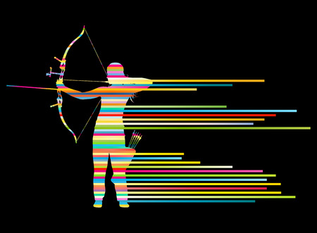 Archer woman bending bow vector background concept made of stripes