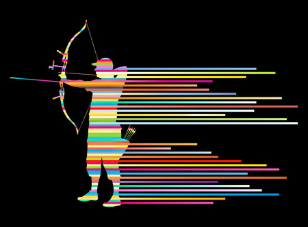 longbow: Archer man bending bow vector background concept made of stripes