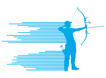 Archer man bending bow vector background concept made of stripes