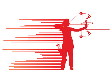 archer of bow: Archer woman bending bow vector background concept made of stripes