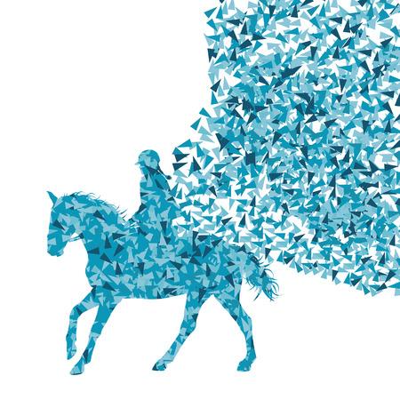 carreras de caballos: Paseos a caballo ecuestre espectáculo deportivo con el caballo y el jinete de vectores de fondo concepto abstracto hecha de fragmentos