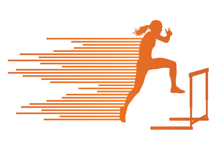 hurdling: Athlete woman hurdling in track and field vector background concept made of stripes