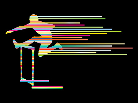 hurdling: Athlete man hurdling in track and field vector background concept made of stripes