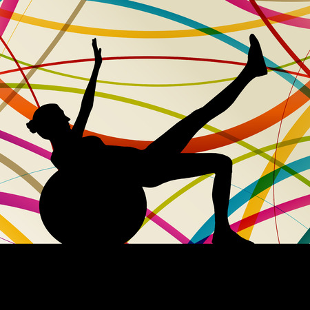 shaping: Woman with ball fitness, sport, training and making exercise in gym vector abstract background concept Illustration