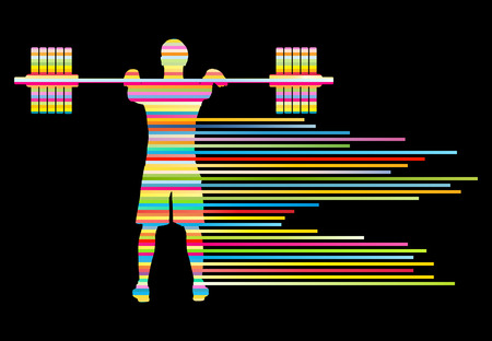 strong men: Weight lifting man abstract vector background concept made of stripes