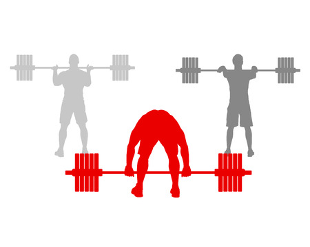 Man powerlifting weights isolated abstract winner concept vector background isolated on white