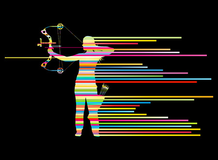 longbow: Archer woman bending bow vector background concept made of stripes