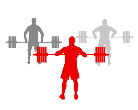 robust: Man powerlifting weights isolated abstract winner concept vector background isolated on white