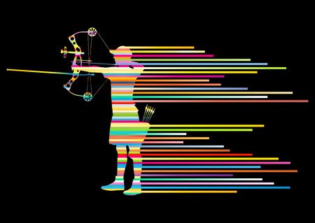 concentrate: Archer man bending bow vector background concept made of stripes