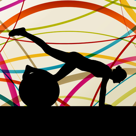 flexible woman: Woman with ball fitness, sport, training and making exercise in gym vector abstract background concept Illustration
