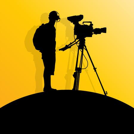 cinematographer: Cameraman silhouette vector background
