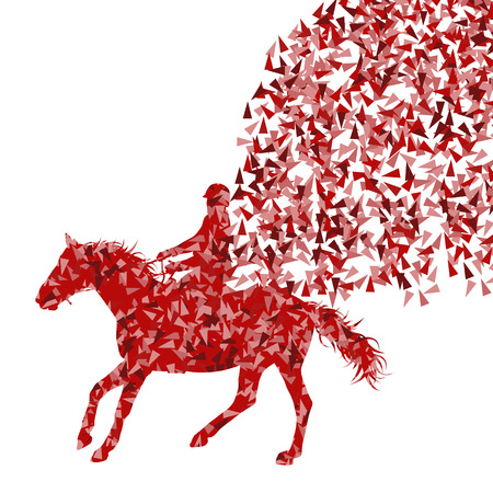 Horseback riding equestrian sport show with horse and rider vector background abstract concept made of fragments