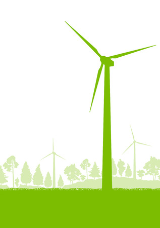 wind farm: Wind generator turbine clean energy concept vector background concept