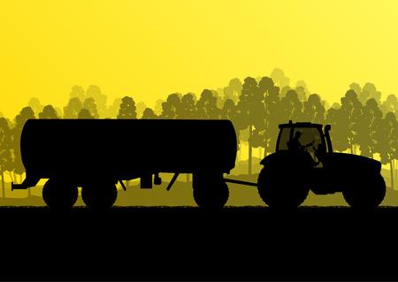 tillage: Trattore agricolo con rimorchio mais nel paese coltivato campo di grano paesaggio di sfondo concetto illustrazione vettoriale ecologia