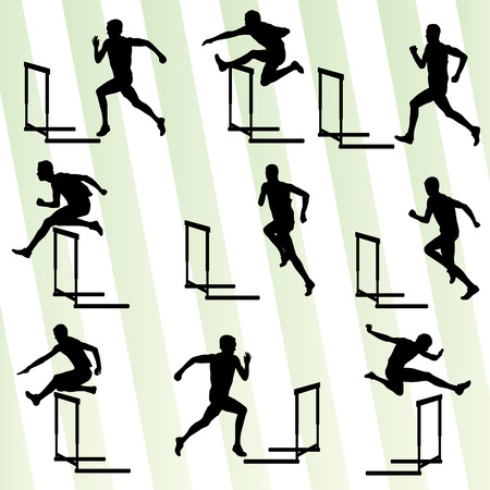 hurdling: Athlete man hurdling in track and field vector background set concept