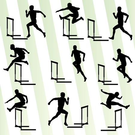 Atleet man hordenloop in atletiek achtergrond vector set-concept