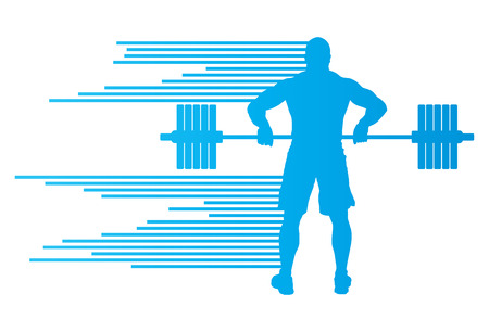 man abstract: Weight lifting man abstract vector background concept made of stripes