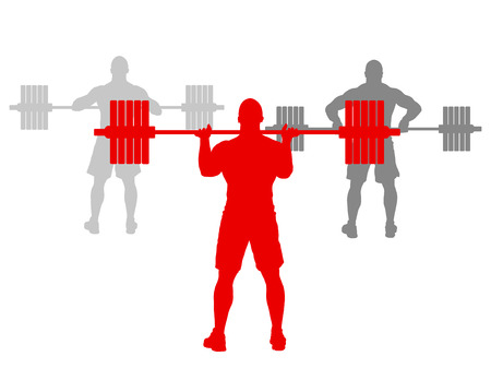 natural forces: Man powerlifting weights isolated abstract winner concept vector background isolated on white