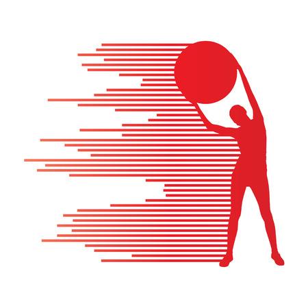 fitness ball: Joven bola de la aptitud vector concepto historial deportivo ejercicio de la mujer hecha de rayas