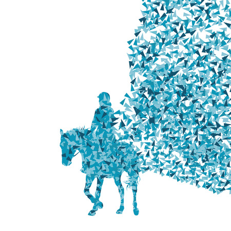 decathlon: Horseback riding equestrian sport show with horse and rider vector background abstract concept made of fragments