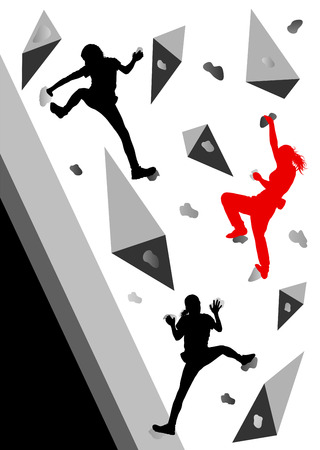 rock climb: Climber woman winner vector background concept for poster