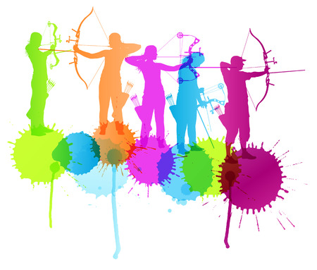 Archery vector background concept with color splashes for poster