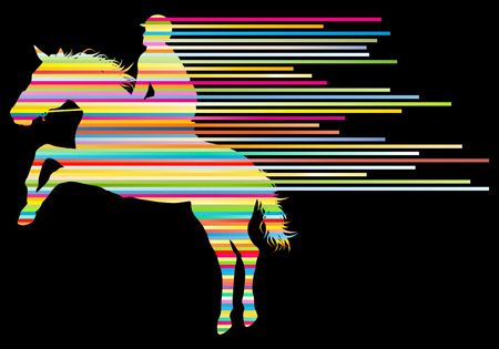 race horse: Horse riding equestrian sport with horse and rider vector background concept made of stripes Illustration