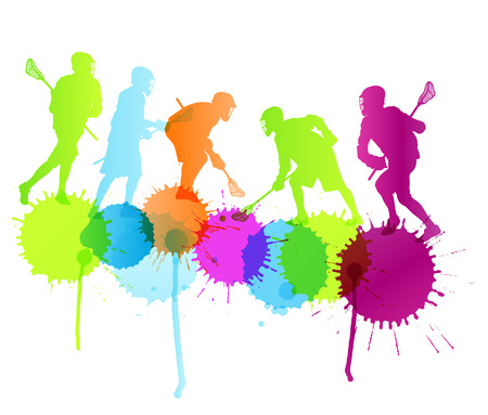 lax: Lacrosse player in action vector background concept with color splashes for poster