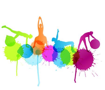 fitness ball: Mujer en bola de la aptitud ejercita concepto de vectores de fondo con salpicaduras de color para el cartel