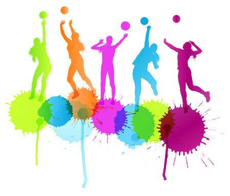 volleyball serve: Mujer Voleibol concepto de fondo jugador vectorial con salpicaduras de color