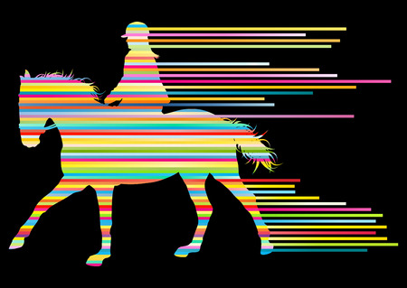 decathlon: Horse riding equestrian sport with horse and rider vector background concept made of stripes Illustration