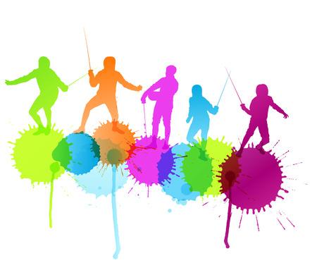 esgrima: Esgrima silueta deportiva del concepto del fondo vectorial con salpicaduras de color para el cartel Vectores