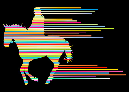 equestrian sport: Horse riding equestrian sport with horse and rider vector background concept made of stripes Illustration