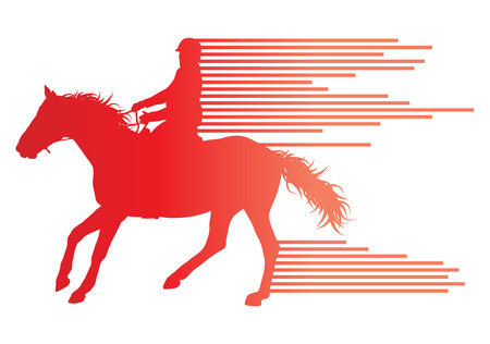 hobby horse: Horse riding equestrian sport with horse and rider vector background concept made of stripes Illustration