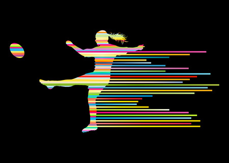 tough girl: Rugby player woman silhouette vector background concept made of stripes