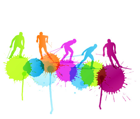cross country skiing: Cross country skiing vector background concept with color splashes
