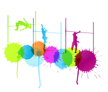 high jump: High jump woman vector abstract background concept with color splashes Illustration