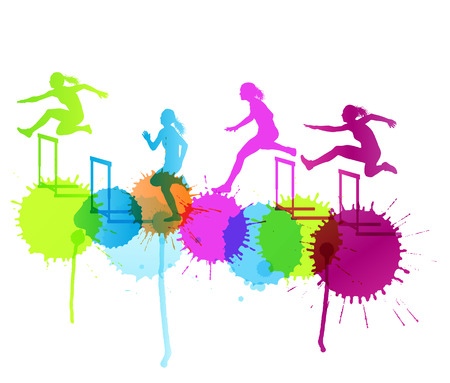 hurdling: Hurdle race woman barrier running vector background winner overcoming difficulties concept with color splashes