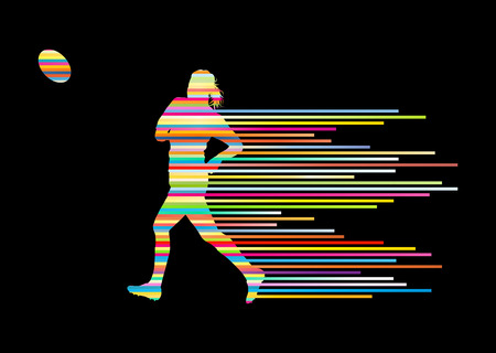 force: Rugby player woman silhouette vector background concept made of stripes
