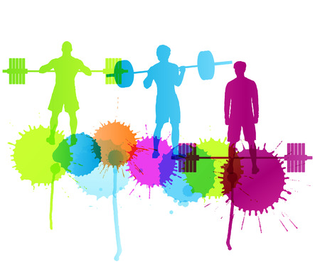 natural forces: Man powerlifting weights isolated abstract winner concept vector background isolated on white with color splashes Illustration